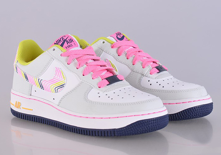 NIKE AIR FORCE 1 GS LIGHT WHITE PINK SWOOSH 314219