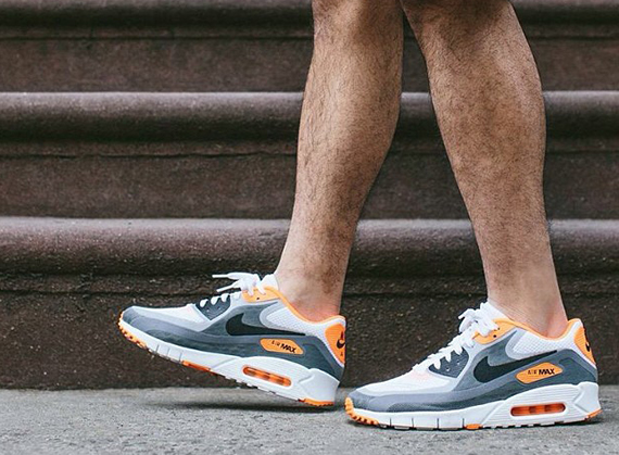 Nike Air Max 90 Breathe - White - Black - Wolf Grey - Orange ... 8a13bcb345