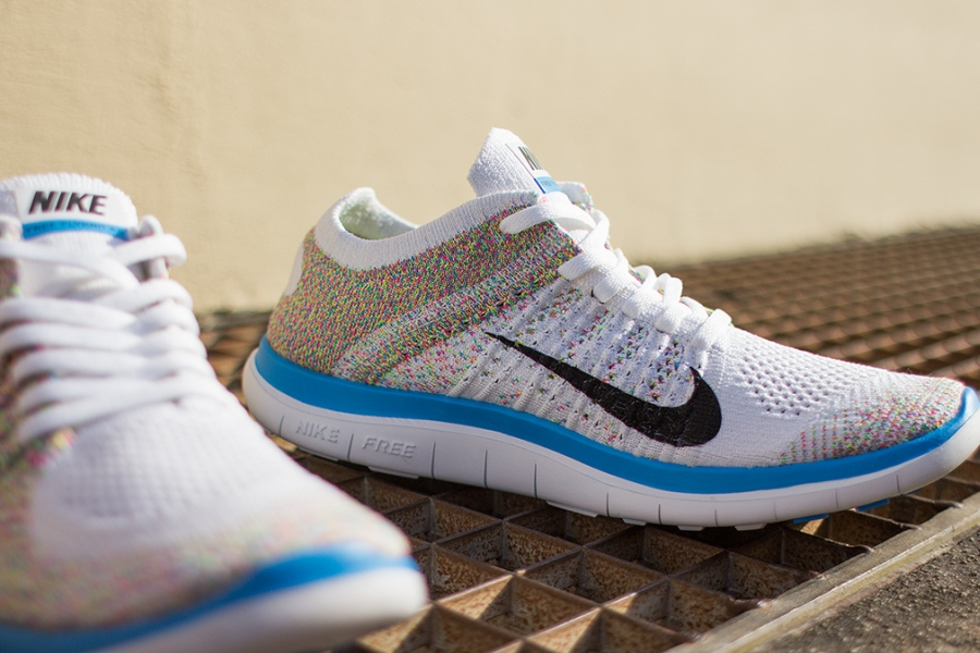 Femmes Nike Free 4.0 Flyknit Roulement Multicolore Blanc