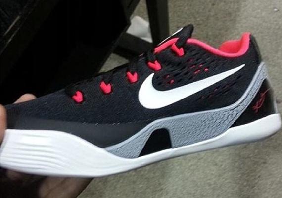 save off cfe52 d481a ... Nike Kobe 9 EM GS - Black - White - Laser Crimson - Wolf Grey ...