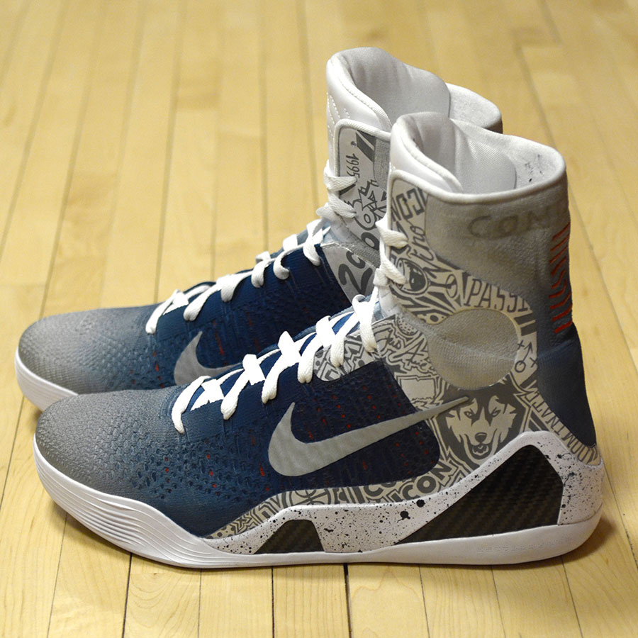 "detailed look 8b65a 60111 Nike Kobe 9 Elite ""UCONN"" by Mache Customs for Geno Auriemma"