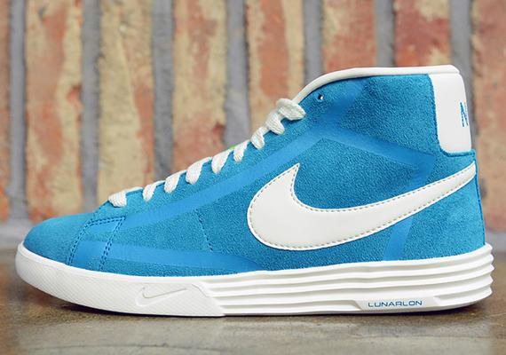 Nike Blanc Lunaire Blazer / Hyper Couleur Bleu-noir