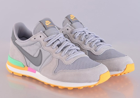 Nike WMNS Internationalist – Grey – Light Lucid Green – Atomic Mango