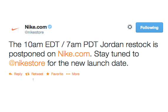 Nikestore Restock of Jordans Postponed