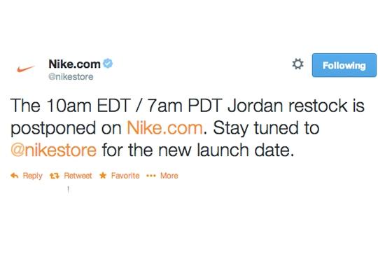 Nikestore Restock of Jordans Postponed