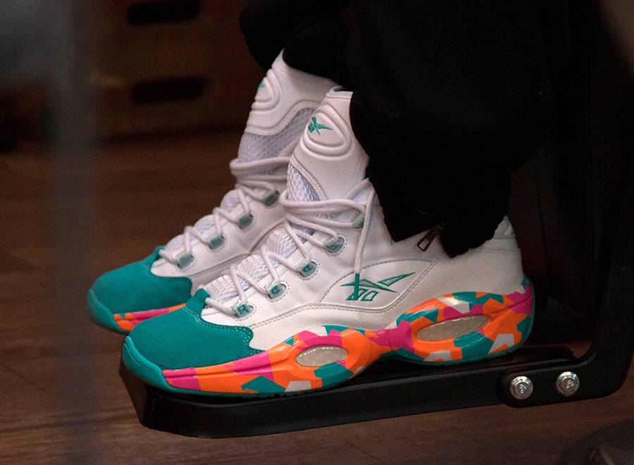 """418aaa9cc26613 The newest Allen Iverson release to come fron Reebok Classic s creative  catalog is the Reebok Question """"White Noise"""". The shoes feature a colorful"""