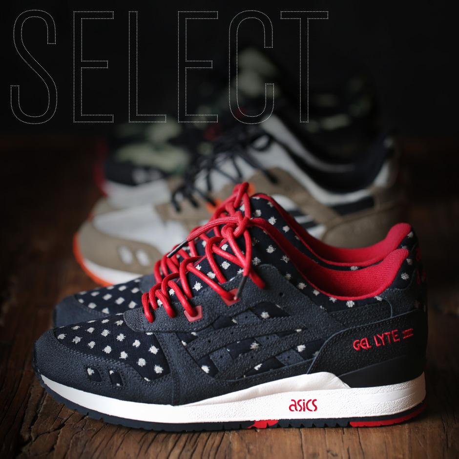 asics suede gel-lyte iii sneakers with metallic dots in off white