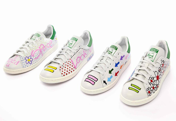 pharrell hand paints 10 adidas stan smiths for charity to release at colette. Black Bedroom Furniture Sets. Home Design Ideas