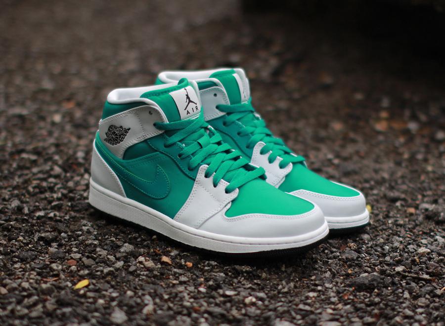 1dfaaf526925 Air Jordan 1 Mid - Lush Teal - Pure Platinum - SneakerNews.com