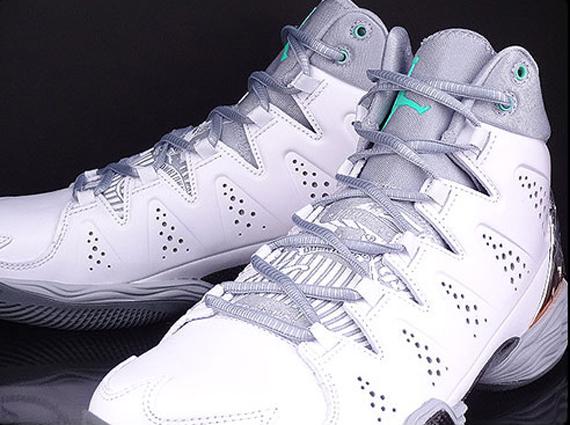 3113a398a10819 Jordan Melo M10 - White - Wolf Grey - Green Glow - SneakerNews.com