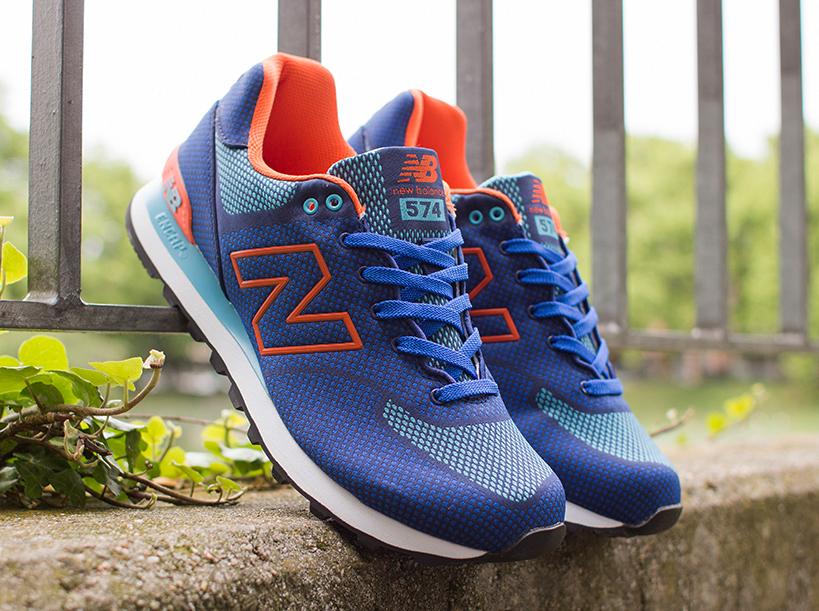 Nuevo Equilibrio 574 Tejida Azul Naranja v5Fwcac