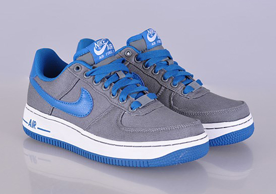 Nike Air Force 1 Low Canvas GS Cool Grey Military Blue