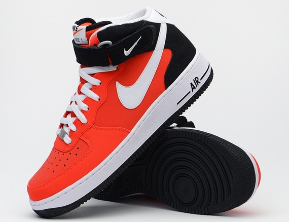 nike air force 1 mid black red white