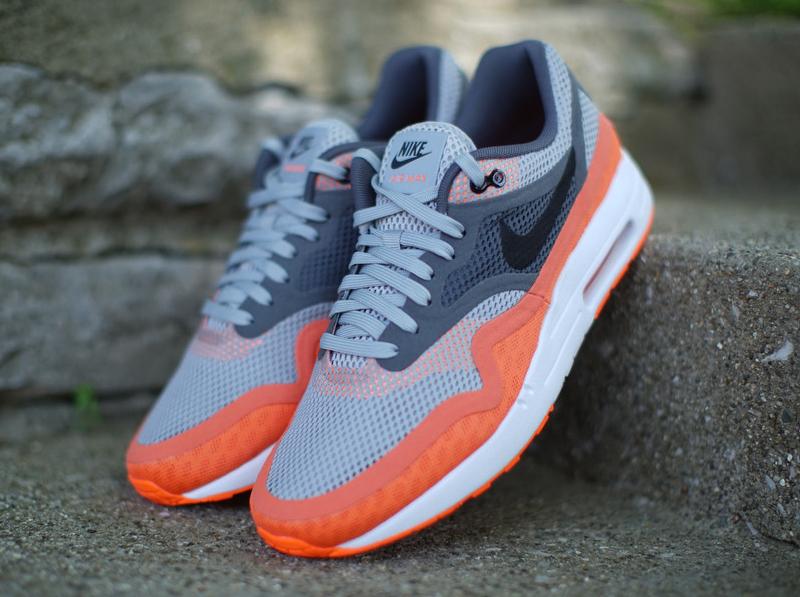 Nike Air Max 1 Breathe - Silver - Black - Dark Grey - Team Orange