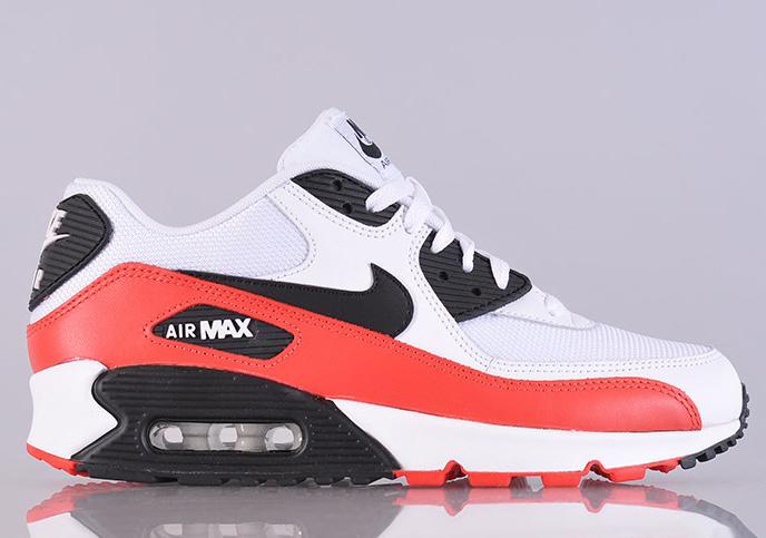 nike air max 90 white black light crimson