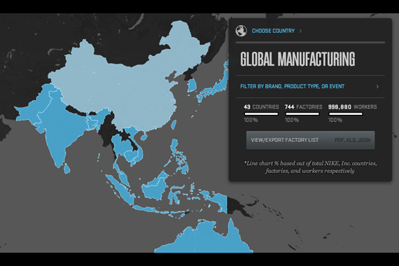 A map of every nike factory in the world sneakernews which countries around the world create the apparel footwear and gear that constitute the swoosh empire the brand actually has an interactive map gumiabroncs Images