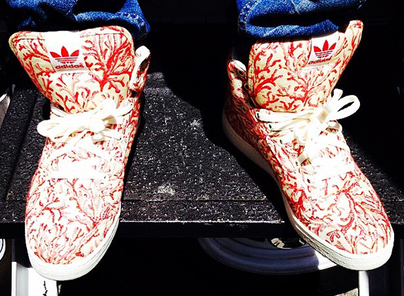 e5f237f366c0 Pharrell Shows Off Custom adidas With Coral Printed Fabric From Paris