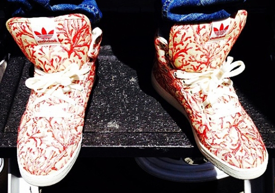 Pharrell Shows Off Custom adidas With Coral Printed Fabric From Paris