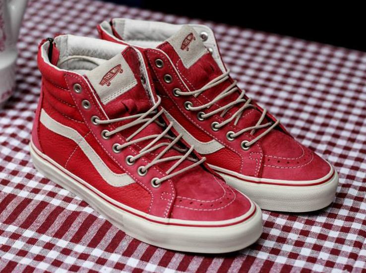 red leather vans sk8 hi