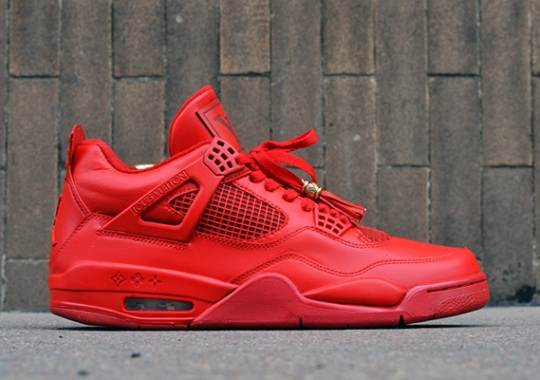 "Air Jordan 4 ""Red Louis Vuitton Don"" by Dank Customs"