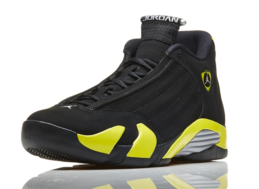 """Air Jordan 14 """"Thunder"""" Color  Black Vibrant Yellow-White Style Code  487471 -070. Release Date  07 04 14. Price   170 f7db43d2a"""