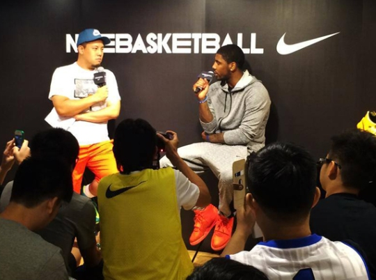 Kyrie Irving in Red October Yeezy 2 and Nike Hyperdunk 2014 at Nike Hong Kong Event