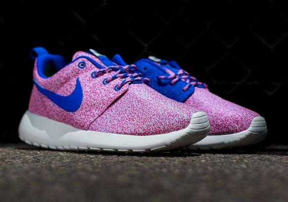 Femmes Nike Course Roshe Print Formateur Bleu Blanc Rose Sommet