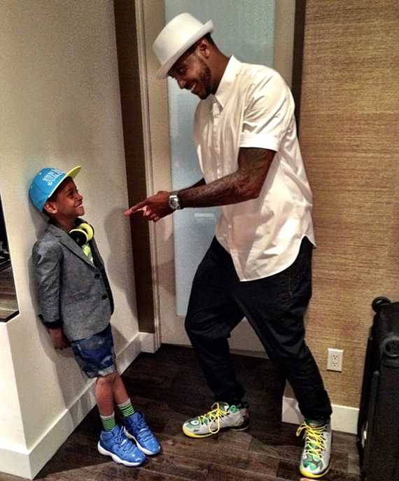 Carmelo Anthony And Son In Air Jordan Pes Sneakernews Com
