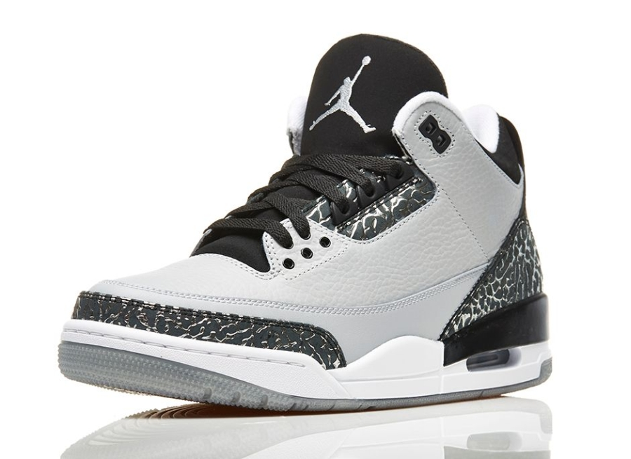 "... 2017 Air Jordan 3 ""Wolf Grey"" Color Wolf GreyMetallic  Silver-Black-White Style NIKE ..."