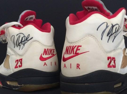 "Original Air Jordan 5 ""White/Fire Red"" Autographed by Michael Jordan"
