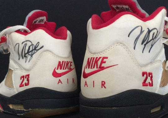 "Original Air Jordan 5 ""White/Fire Red"" Autographed by Michael Jordan"