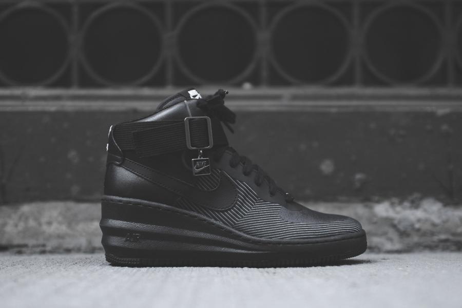 61f7548729d1 Nike WMNS Lunar Force 1 Sky Hi JCRD Color  Black Dark Grey Style Code   654849-001. Price   150