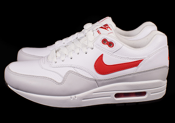 Nike Air Max 1 Leather White University Red Neutral