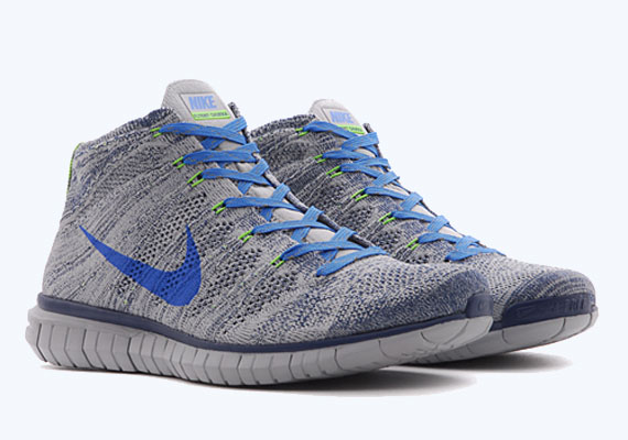 Mens Nike Free Flyknit Chukka Running Shoes On Feet
