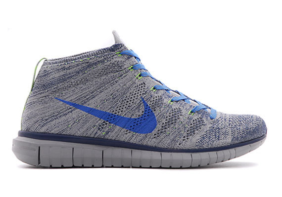 new arrival d7387 2e8a5 Nike Free Flyknit Chukka Color  Wolf Grey Photo Blue-Brave Blue-Electric  Green Style Code  639700-002