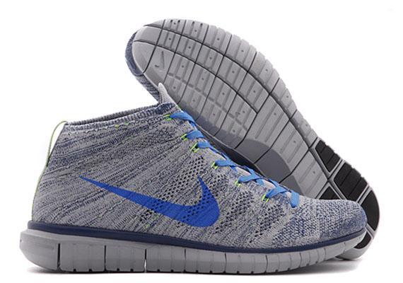 Nike Free Flyknit Chukka - Wolf Grey - Photo Blue - Electric Green