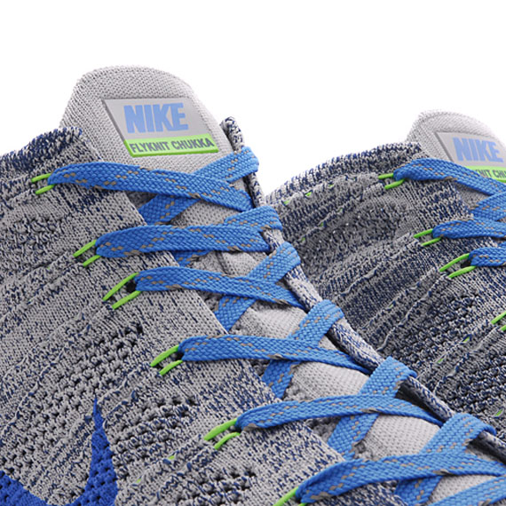 low priced 5b7b0 7a13d Nike Free Flyknit Chukka - Wolf Grey - Photo Blue - Electric Green -  SneakerNews.com