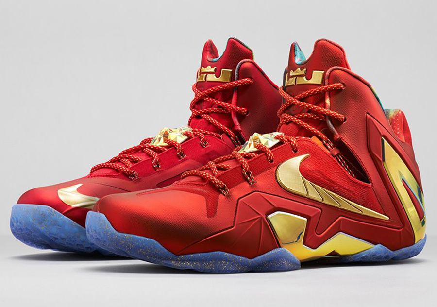 Originals Nike Lebron 12 Elite Red Black Gold