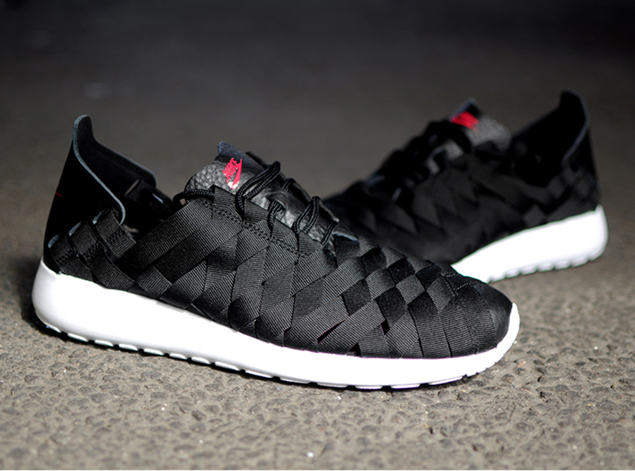 nike woven roshe white and black