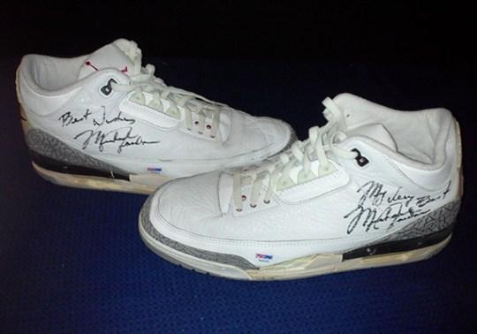"Air Jordan 3 ""White/Cement"" – Game-Worn Autographed Pair on eBay"
