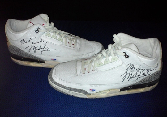 "Air Jordan 3 ""White/Cement"" – Game-Worn Autographed Pair on eBay"
