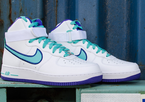 outlet store 03630 a1bbd Nike Air Force 1 High – White – Dark Concord – Hyper Jade