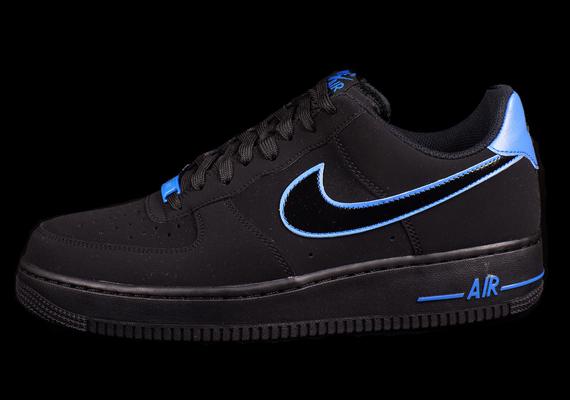 Nike Air Force 1 Bajo Negro / Azul De La Foto 7sxbh6