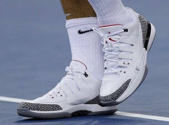 Roger Federer Begins 2014 US Open in Nike Zoom Vapor Tour Air Jordan 3