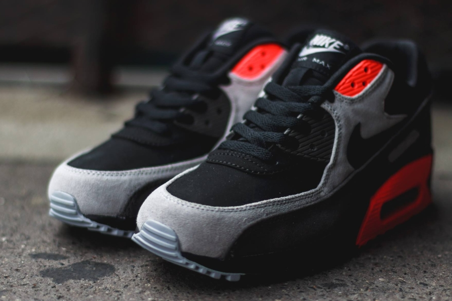 4db55fb7c36e Nike Air Max 90 - Black - Ash Grey - Total Crimson - SneakerNews.com
