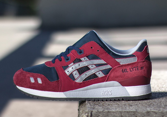 asics gel lyte iii shoes red grey white