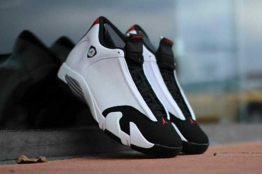 "Air Jordan 14 ""Black Toe"" Color  White Black-Varsity Red-Metallic Silver  Style Code  487471-102. Release Date  09 20 14. Price   170 f19b4b5e9"