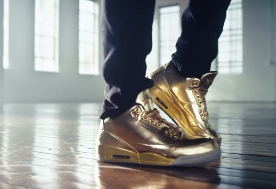 "See Usher's Air Jordan 3 ""Gold"" PE in this Honey Nut Cheerios Commercial"