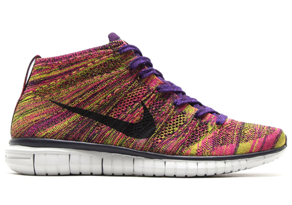 This new pair of Nike Free Flyknit Chukkas is every bit as flashy as youd  expect from a design that uses colors like grand purple and firberry