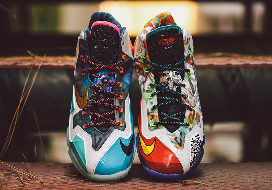 """What The"" Nike LeBron 11. Color: Black Lava/Silver Ice-Galaxy Blue Style  Code: 650884-400. Release Date: 09/13/14. Price: $250"